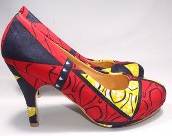 Pump High Heel African graphic motifs loincloth