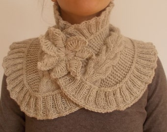Hand Knit Neck Warmer With brooch