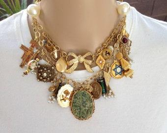 Gold Ecletic Charm Necklace Boho Charm Necklace Bold Statement Piece