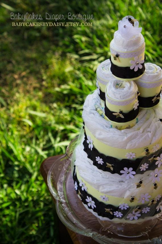 Bumble Bee Diaper Cake - Bee Diaper Cake - Black and Yellow Bee Diaper Cake - Bumble Bee Baby Shower - Centerpiece