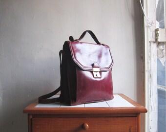 SALE Vintage burgundy leather handbag satchel shoulder cross body messenger bag briefcase