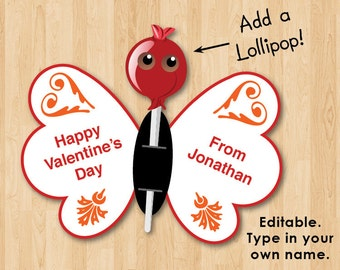 Kids Printable Valentines - Lollipop Butterfly Card, Instant download, Personalized, Custom, DIY, Lollypop Boys