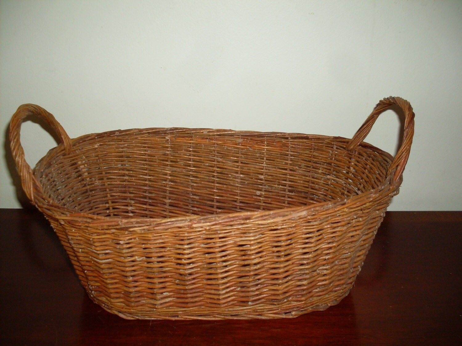 antique wicker basket with two handles fruit by connecticutfinds. Black Bedroom Furniture Sets. Home Design Ideas