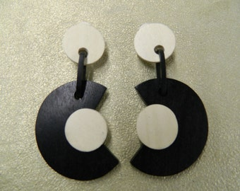 Vintage handmade black ivory wood clip on earrings