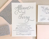 The Stargazer Suite, Modern Letterpress Wedding Invitation Suite, Silver, Glitter, Blush Pink, White, Formal, Elegant, Calligraphy, Script