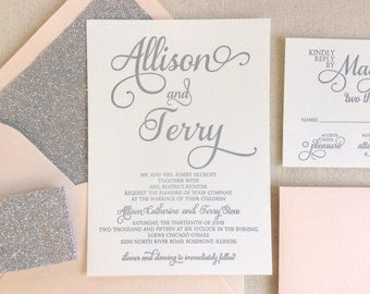 The Stargazer Suite, Modern Letterpress Wedding Invitation, Sample, Silver, Glitter, Blush Pink, White, Formal, Elegant, Calligraphy, Script