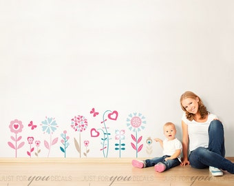 Flower Wall Decal - Girls Room Wall Decal - Teen Girl Room Wall Decal - Flower Decal - Wall Stickers - Custom Decal Wall Graphics - 06-0002
