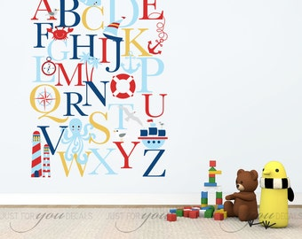 Nursery Wall Decal, Alphabet Wall Decal, Nautical Nursery Wall Decals - Playroom Wall Decal - Alphabet Decal - Wall Sticker - 01-0035A