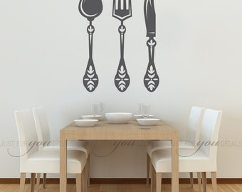 kitchen wall decal spoon knife fork wall decal dining room wall decals