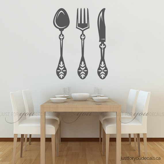 Kitchen Wall Decal Spoon Knife Fork Wall Decal Dining - Wall stickers for dining roomdining room wall decals wall decal knife spoon fork wall decal