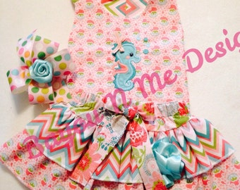 Seahorse Halter Top and Diaper Cover/ Skirt