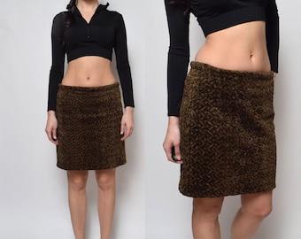 SALE___Brown 90's Textured Velvet Skirt