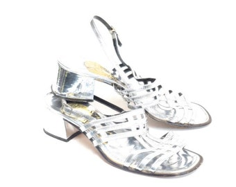 Vintage 80's Silver Mirror Chunky Slingback Sandals