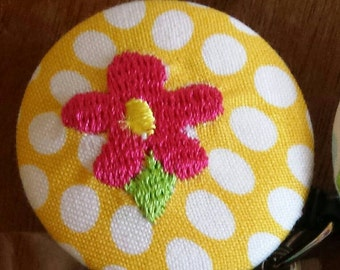 Pink embroidered flower retractable badge holder reel
