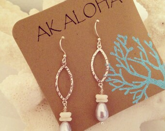 White Coral Earrings, Pearl Dangle Earrings, Silver Pearl Earrings, Coral Earrings