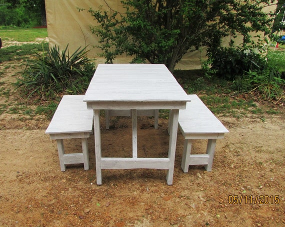 ready to ship 4 whitewashed picnic table bench by
