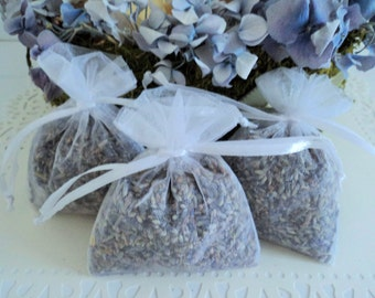 3 FRENCH LAVENDER SACHETS - Lavender Favors, Wedding Favors, Lavender Sachet, Lavender Toss, Wedding Confetti, Lavender Wedding