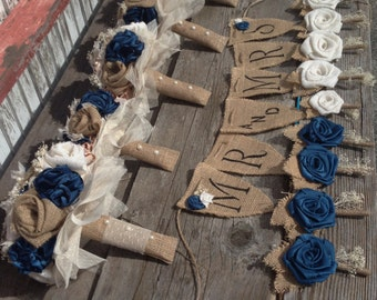 Handmade natural and ivory burlap with blue silk bouquets(listing is for one bridal bouquet)