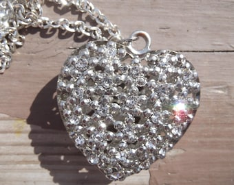 Handmade Rhinestone Heart Necklace