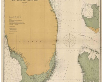 Cape Canaveral to Key West - 1916 Nautical Map Florida Reprint General Chart 1112
