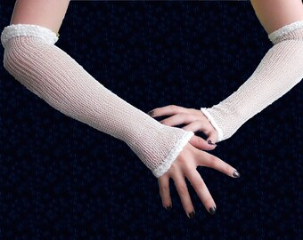 Long white mesh fishnet gloves festive arm warmers, bride accessory, wedding
