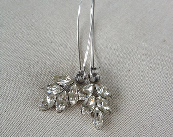 Swarovski rhinestone leaf earrings, silver, Swarovski, crystal, rhinestone, drop, long, jewelry, earrings, woodland, leaf, leaves, silver