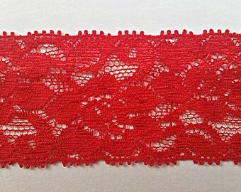 1.5 Inch Red Lace Elastic