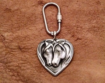 Two Horses on a  Heart Keychain   Horse Keychain   Heart Keychain   Gift for Horse Lover