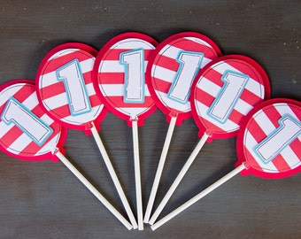 Dr. Suess Cupcake Toppers Red and White Striped with Age, Suess Cupcake Toppers, Suess Favors