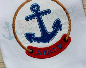 AHOY PATCH machine embroidery design