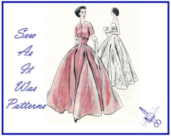 """1950s Vogue 9034 Strapless Gown Evening Ball Formal Full Flared Skirt Dress Crop Bolero Jacket Vintage Sewing Pattern Size 15 Bust 34"""" 36"""""""