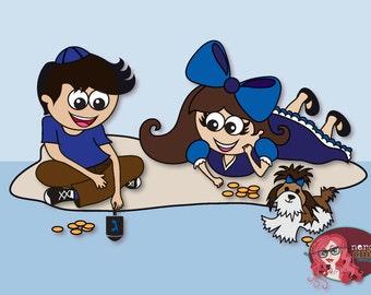 Hanukkah Greeting Card Dreidel Kids Illustration