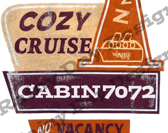 "DISNEY CRUISE door magnet printable jpg download CUSTOMIZED w/ship and/or cabin #!  ""Cruise"" version of vintage ""Cozy Cone Motel"" design!"