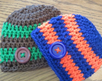 For the TWINS * Set of 2 Crochet Button Hats / Beanies * Striped Hats for Boys * Buttons * Photo Props * Shower Gift