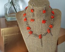 Sterling Silver Byzantine Chain and Orange Coral
