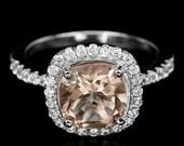 Genuine 2.09 ct. Peach Morganite Ring Silver Sterling 925 Ring Wedding Birthday / Free Resize