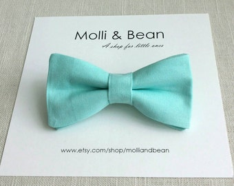 FREE SHIPPING!*...Newborn Bow Tie, Toddler Bow Tie, Aqua Blue Boys Bow Tie, Clip on Bow Tie, Ring Bearer Bow Tie