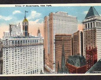 Postcard NYC Skyscrapers Buildings New York City, Unused, Old Vintage New York Postcard PC, NY