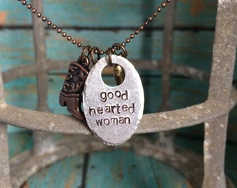 Good Hearted Woman Metal Stamped Charm Necklace