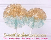Gold and Aqua Wedding Favors, Aqua Blue Favors, Wedding Lollipops, Candy Lollipop, Beach Wedding, Sparkle Lollipops, -Set of Six