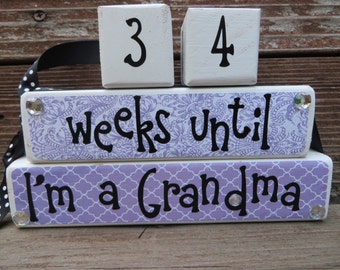 Grandma Grandpa Jewel countdown blocks Bling we're grandparents weeks until baby arrives baby shower gift Mothers Day Fathers Day