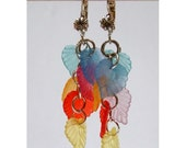 Rainbow leaf earrings/leaf earrings/colorful earrings/handmade rainbow earrings