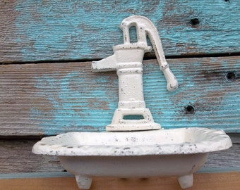 Shabby Chic Antique White Soap Dish Water Well Hand Pump Office Decor