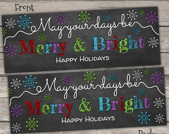 INSTANT DOWNLOAD - Merry and Bright Chalkboard Treat Bag Toppers Holiday Favor Labels - Christmas Party Digital pdf file