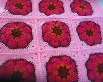 Crochet Cushion Cover Pillow. Granny Square. African Flower. Made to order.