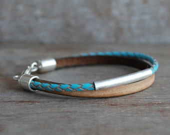 Navajo desert / Geflochtenes Lederarmband // natur, türkis, antik silber // Boho, Tribal // Frauen Armband // geflochtenes Leder
