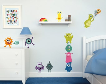 Monster Wall Decals // Monster Wall Stickers // Kids Room Decor // Kids Part 94