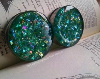 PAIR of glitter shard plugs.
