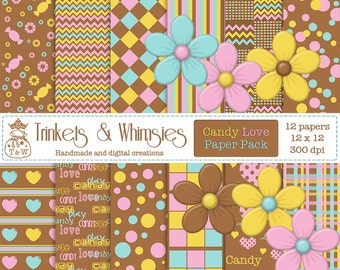 Candy Love Digital Scrapbook Paper Pack - Instant Download  Ask a Question