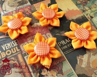 Pumpkin Pie Fabric Kanzashi Flowers